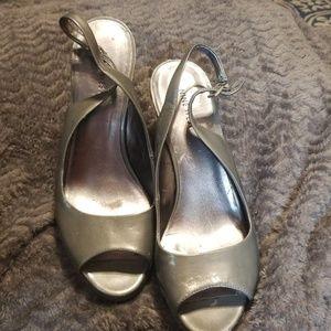 Nine West Shoes - Gray Nine West patent slingback heels